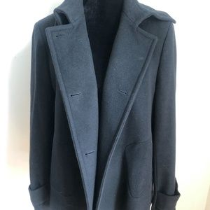 Zyga 44 Navy Wool and Cashmere collared peacoat